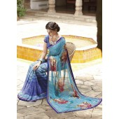 Chiffon Light and dark blue colour Designer Sarees