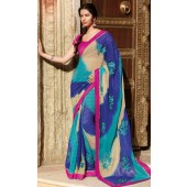 chiffon saree with blend of  peppermint,blue and butter colour