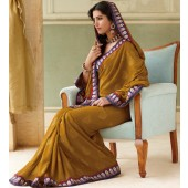 chiffon saree with gold colour with silk  Embroidery