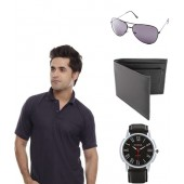 Coal Men Combo Of Polo T Shirt, Watch, Wallet & Aviator Gift Set