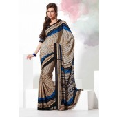 Cream & Blue colour Crepe Material Saree