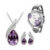 Diwali Special CYAN Purple Austrian Crystal set with bracelet watch combo