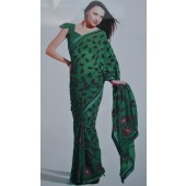 Dark Green Designer Saree in Georgette Material