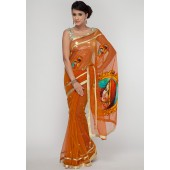 Ethnic Closet Limited Collection Banarasi Zari Buta Orange Net Saree