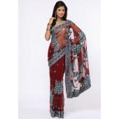 Ethnic Closet Maroon Printed Sarees