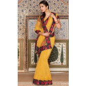 full net saree with red silk border in yellow colour