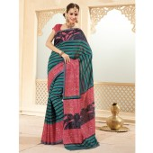 Gajri Pink and Green colour Peacock Silk Casual Sarees
