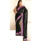 Georgette black with resham velvet border with stone with Unstitched blouse