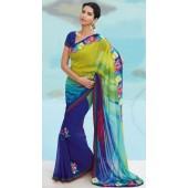 georgette with banana cabana colour with resham border