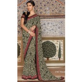 Georgette saree with booster cake with silk red border