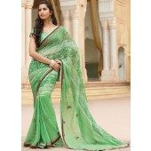 Georgette saree with pista colour with embroidery