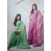 Green and Pink colour Georgette Casual Sarees