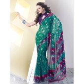 Green and Purple colour Georgette Casual Sarees