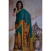 Green and Yellow Casual Crepe Sarees