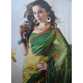 Green and Yellow colour Georgette Casual Sarees