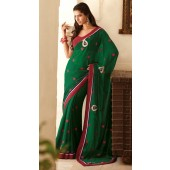 Green chiffon with resham butta and red border