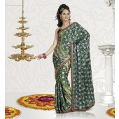 Green colour Designer Sarees
