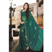 Green colour Georgette Casual Sarees