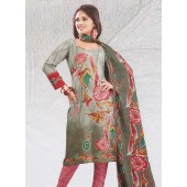 Pink Rose Printed Churidar Suit
