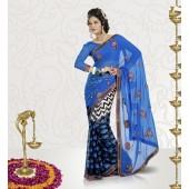 Half Satin patta and Half Georgette Blue colour Designer Sarees