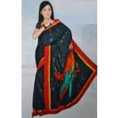 Jacquard Crepe Saree with black color