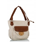 Off-white coloured handbag with brown trims for women by Kiara.