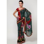 Laxmipati Multi Printed Sarees in Green Color Shade