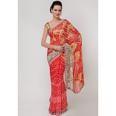 Laxmipati Multi Printed Sarees in Red & Yellow Color