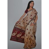 Light Biscuit Casual Saree in Bombay Cotton Material