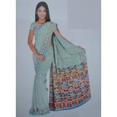 Light Blue colour Bombay Cotton Material Sarees