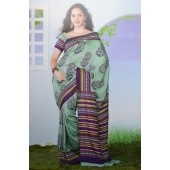 Light green colour Peacock Silk Saree