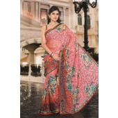 Light Pink and Red colour Brasso Casual Sarees