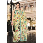 Light Yellow colour Georgette Casual Sarees