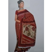 Maroon Casual Saree in Cotton Material
