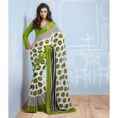 Mehandi Green and White colour Half Resham Patta and Half Chiffon Casual Kitty Party Sarees