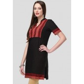 MIRAAYA-Short-Sleeve-Embellished-Black-Kurti