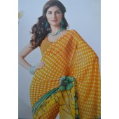 Mirinda Orange colour Georgette Casual Sarees