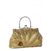 Golden coloured clutch for women by Miss Bennett.