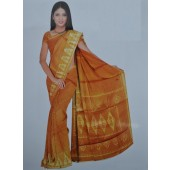 Mustard Yellow colour Bombay Cotton Material Sarees