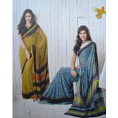 Mustard Yellow colour Georgette Casual Sarees