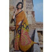 Mustard Yellow colour Wrinkle Chiffon Casual Sarees