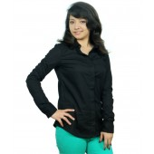 Neburu Black Cotton Full Sleeves V Neck Shirt