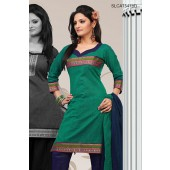 Panache Green Cotton Churidar Suit