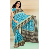 Peacock Silk Saree with light blue color
