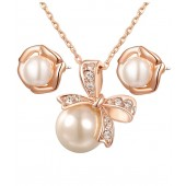 Peculiar Pearl Gold Plated Pendant Set By Kaizer Jewelry
