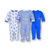 Gee & Bee Blue Romper Set Of 3 Pcs