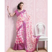 Pink and White colour Half Resham Patta and Half Chiffon Casual Kitty Party Sarees
