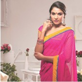 Pink colour Georgette Fabric Casual Sarees