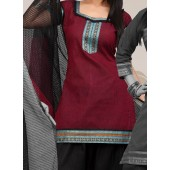 Churidar Suit : Maroon Color Cotton Salwar Suit online in Mumbai, Delhi, Bangalore, Patna
