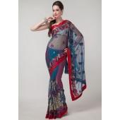 Prafful Embroiderd Net Multi Colored Sarees
